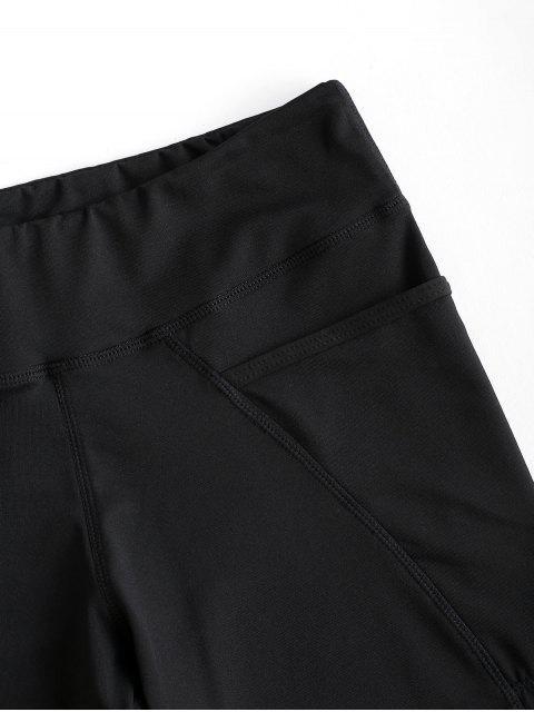 latest High Rise Pocket Stretchy Biker Shorts - BLACK L Mobile
