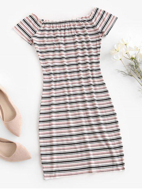 fancy Off The Shoulder Ribbed Striped Bodycon Dress - LIGHT PINK S Mobile