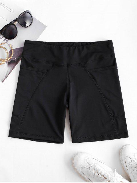 Shorts Elásticos de Motociclista con Bolsillo con Cintura Alta - Negro M Mobile