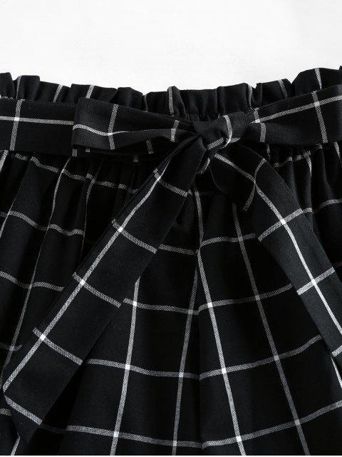 latest ZAFUL Grid Print Paperbag Shorts - BLACK S Mobile
