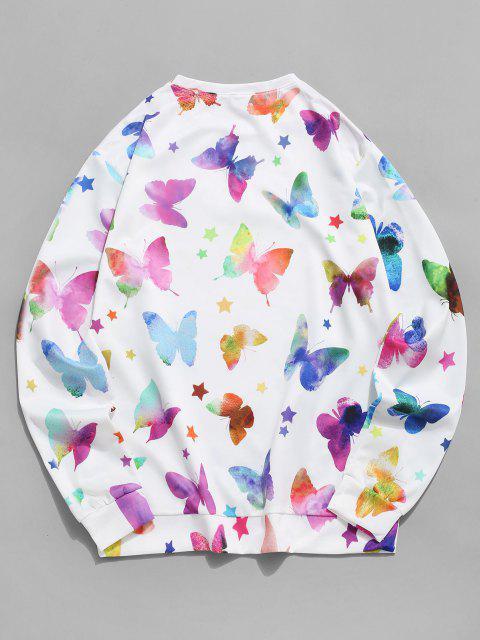 Sweat-shirt Etoiles et Papillons Imprimés - Blanc 3XL Mobile