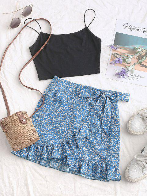 sale Tiny Floral Ruffles Overlap Skirt - BLUE L Mobile