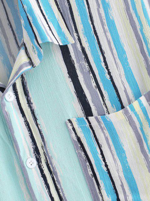 fashion Stripes Paint Print Pocket Patch Shirt - LIGHT BLUE XL Mobile