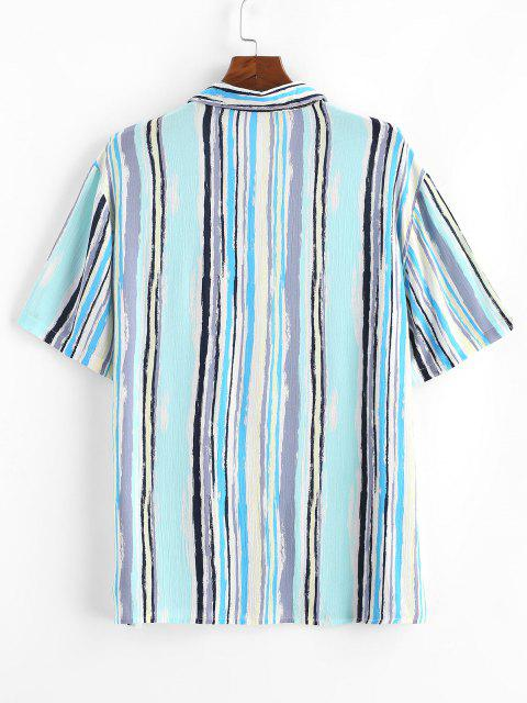 chic Stripes Paint Print Pocket Patch Shirt - LIGHT BLUE 2XL Mobile