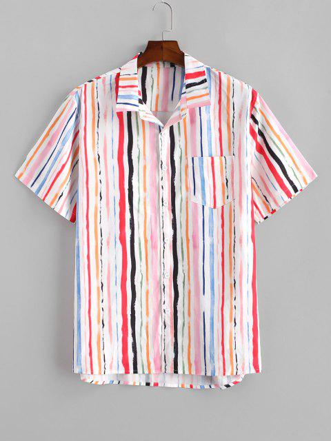buy Vertical Striped Paint Print Pocket Shirt - LIGHT PINK 2XL Mobile