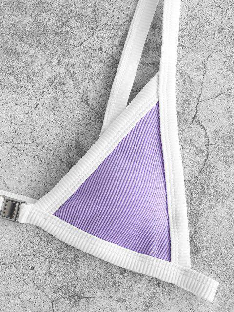 ZAFUL Maillot de Bain Bikini Côtelé au Crocheten Avantà Cordon - Violet clair L Mobile