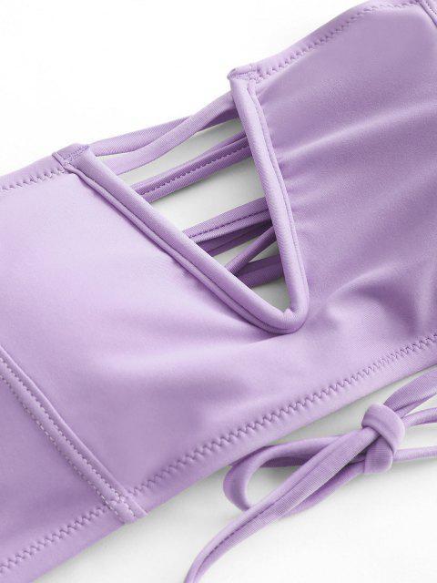 Costume da Bagno Bikini a Fascia con Lacci e Ferretto di ZAFUL - Viola chiaro S Mobile