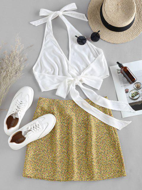 affordable ZAFUL Halter Self Tie Top with Print Skirt Two Pieces Set - YELLOW S Mobile