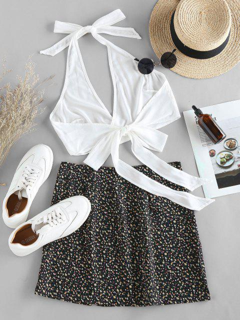 chic ZAFUL Halter Self Tie Top with Print Skirt Two Pieces Set - BLACK L Mobile
