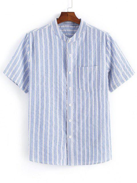 latest Striped Print Pocket Patch Button Up Shirt - LIGHT BLUE 2XL Mobile