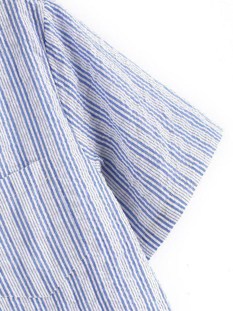 latest Striped Print Pocket Patch Button Up Shirt - LIGHT BLUE 2XL Mobile