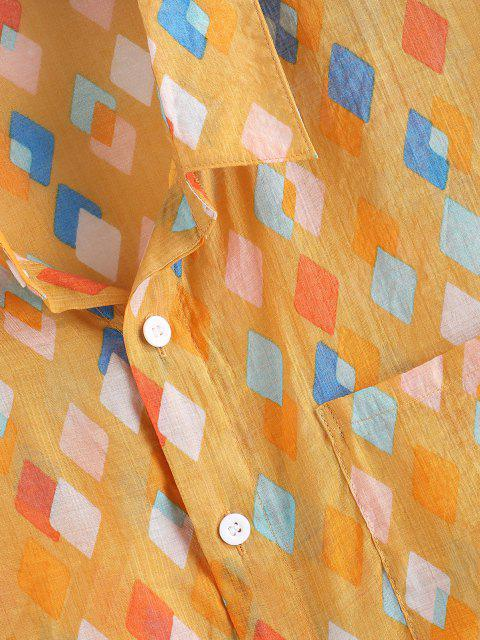 fashion Geometric Pattern Pocket Patch Vacation Shirt - YELLOW 2XL Mobile