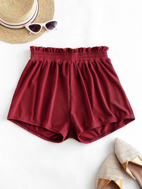 buy ZAFUL Frilled Ribbed Boyshort Bikini Bottom - DEEP RED M Mobile