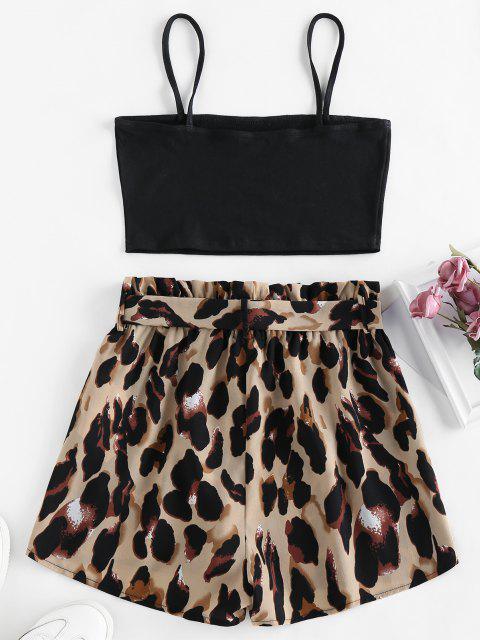 fashion ZAFUL Snake Print Belted Co Ord Set - NATURAL BLACK S Mobile