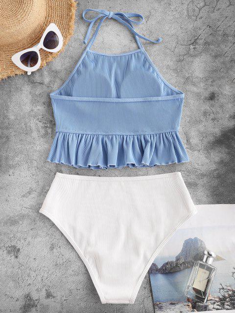 ZAFUL Tankini Badebekleidung mit Rippenmuster und Rüschen - Helles Blau S Mobile