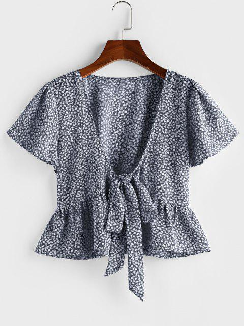 womens ZAFUL Ditsy Print Tie Front Flutter Sleeve Peplum Blouse - CADETBLUE M Mobile