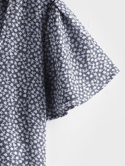 fancy ZAFUL Ditsy Print Tie Front Flutter Sleeve Peplum Blouse - CADETBLUE L Mobile