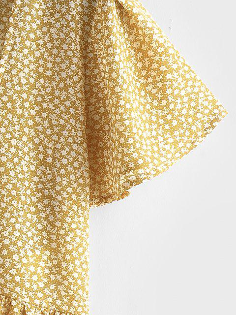 affordable ZAFUL Ditsy Print Tie Front Flutter Sleeve Peplum Blouse - YELLOW S Mobile