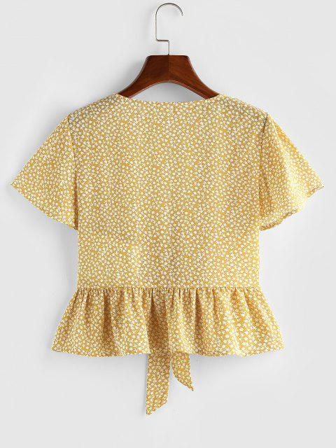 ladies ZAFUL Ditsy Print Tie Front Flutter Sleeve Peplum Blouse - YELLOW L Mobile