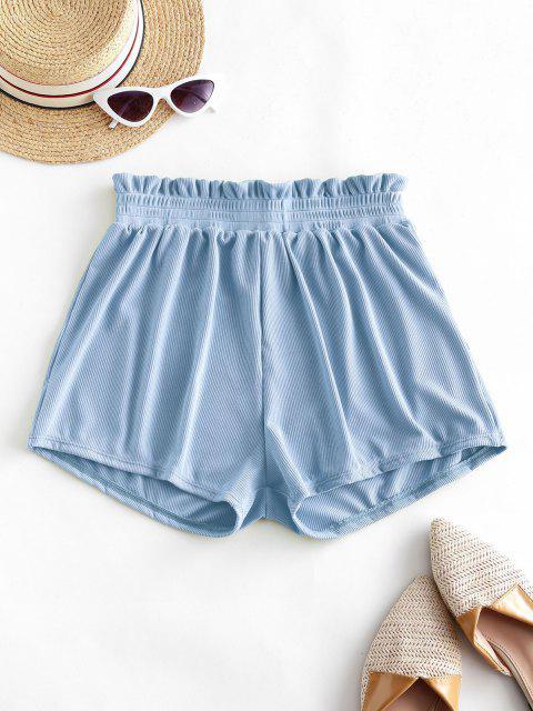 ladies ZAFUL Frilled Ribbed Boyshort Bikini Bottom - LIGHT BLUE L Mobile