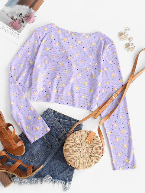 ZAFUL T-Shirt Court Côtelé Plongeant Noué Fleuri - Violet clair S Mobile