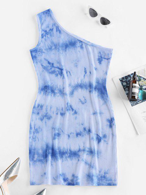 affordable ZAFUL Tie Dye One Shoulder Bodycon Dress - LIGHT BLUE M Mobile