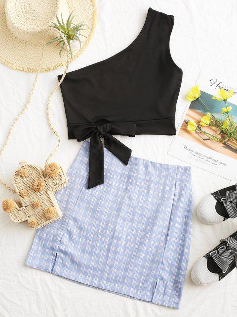new Back Zipper Plaid Slit Mini Skirt - BLUE GRAY S Mobile