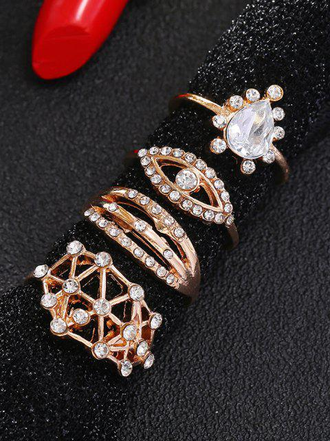 4pcs Conjunto de Anel Antigo de Diamante Artificial - Dourado  Mobile