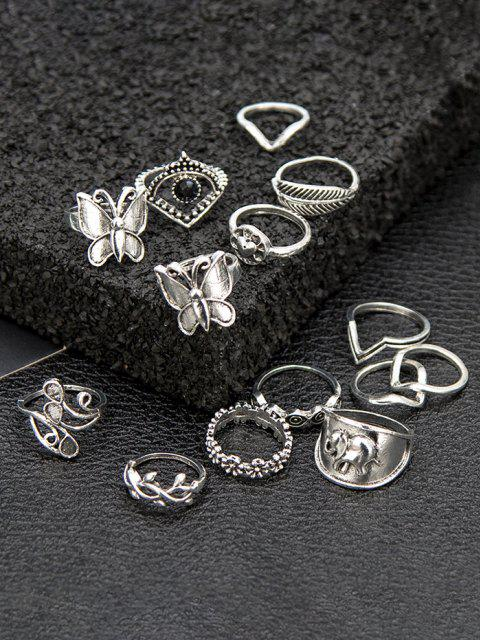 hot 14Pcs Butterfly Leaf Ring Set - SILVER  Mobile