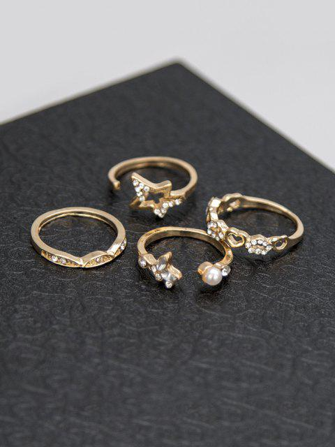 outfit 8 Pcs Rhinestone Leaf Star Ring Set - GOLDEN  Mobile