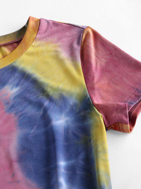 shop ZAFUL Tie Dye Bodycon Mini Dress - MULTI-B M Mobile