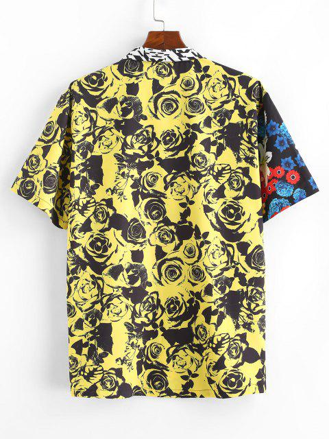 affordable Rose Flower Print Contrast Vacation Shirt - YELLOW S Mobile