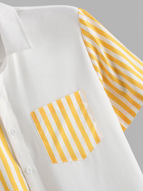latest Contrast Striped Patch Pocket Vacation Shirt - WHITE 2XL Mobile