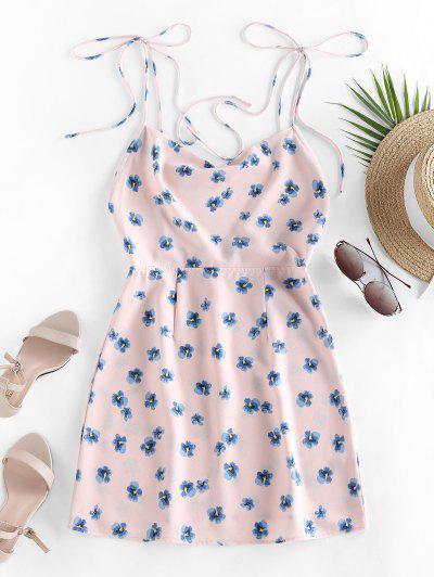 ZAFUL Ditsy Print Tie Shoulder Backless Dress - Pink M