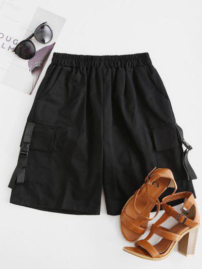 Buckle High Waisted Pocket Cargo Shorts - Black L