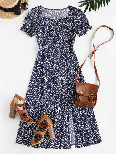 Robe Mi-Longue Fendue Fleurie - Bleu M