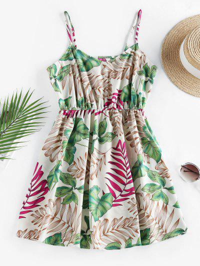 ZAFUL Leaf Print Tropical Sundress - White S