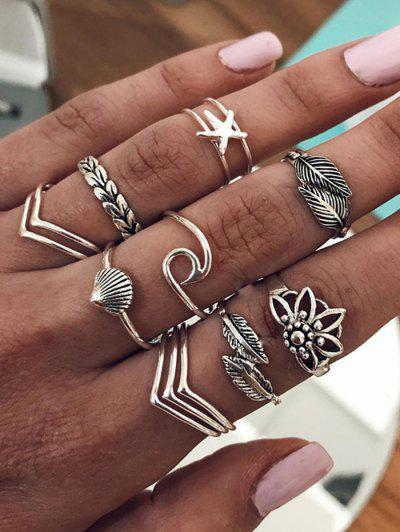 Leaf Shell Starfish Shape Rings Set - Silver