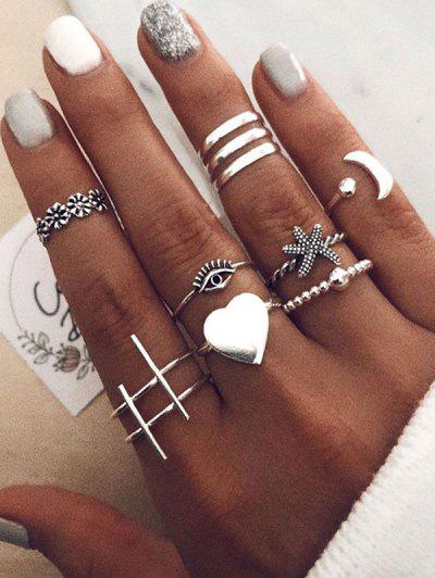 10Pcs Heart Eye Starfish Ring Set - Silver