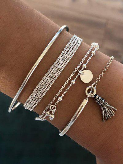 4Pcs Ethnic Tassel Layered Bracelet Set - Silver