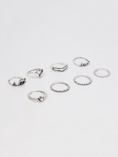 8Pcs Heart Hollow Out Ring Set - Silver