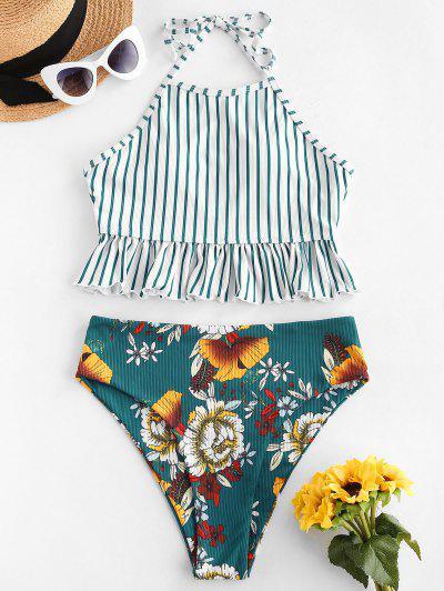 ZAFUL Striped Flower Ribbed Ruffle Halter Tankini Swimwear - Deep Green M