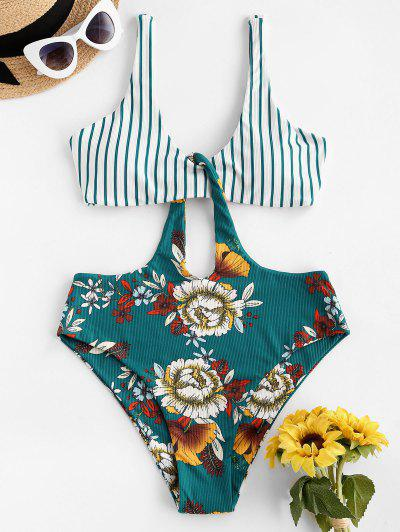 ZAFUL Ribbed Striped Flower Cutout One-piece Swimsuit - Deep Green L