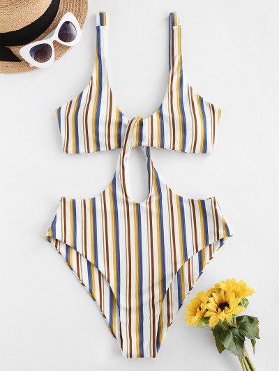 ZAFUL Ribbed Striped Cutout Trikini Swimsuit - Multi L