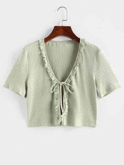 ZAFUL Ruffle Front Tie Ribbed Crop Tee - Light Green S