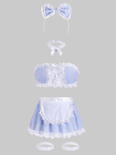 Costume Di Cosplay A Quadretti Con Lacci Con Bordi In Pizzo - Azzurro