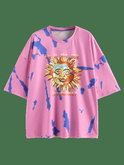 ZAFUL Sun Letter Tie Dye Drop Shoulder Oversized T-shirt