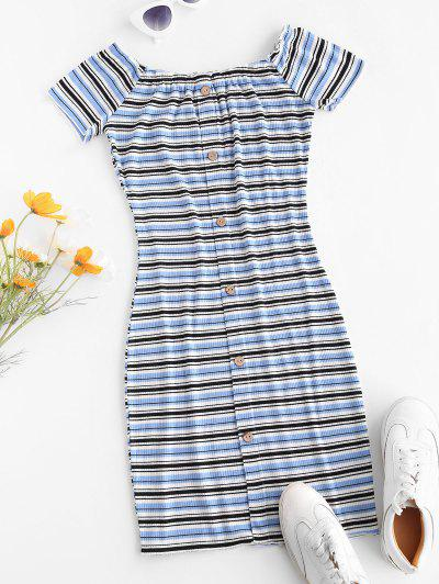 Off The Shoulder Ribbed Striped Bodycon Dress - Blue M