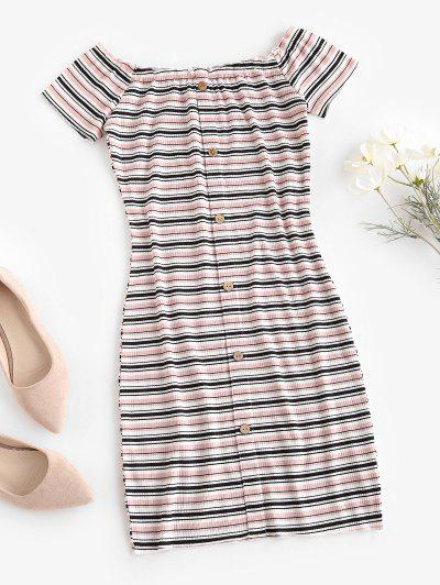 Off The Shoulder Ribbed Striped Bodycon Dress - Light Pink L