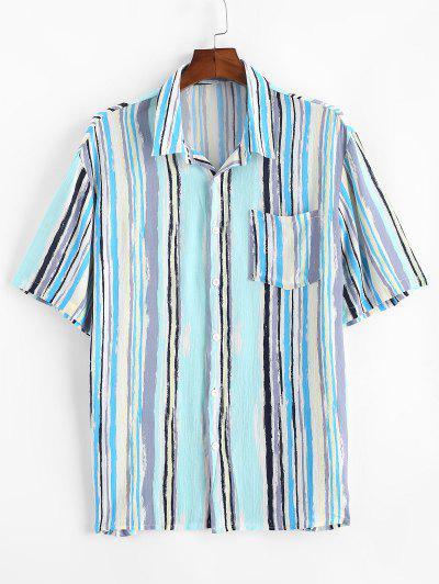 Camisa Listrado Com Pintura De Remendo No Bolso - Azul Claro 2xl